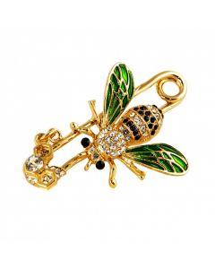 En bi med sikkerhedsnål broche
