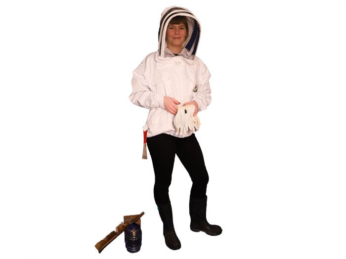 Hvid jakke med hat fra Nordic Beekeeping