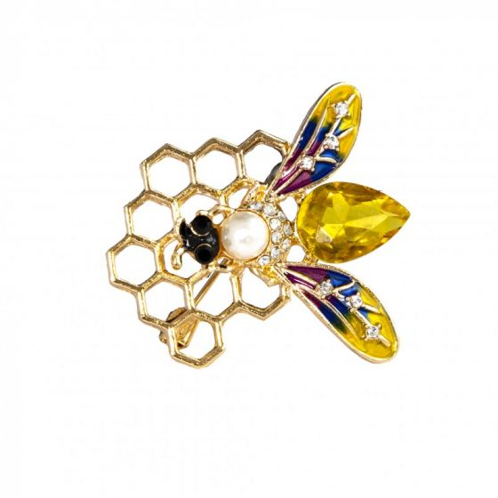 Honninghexagon broche