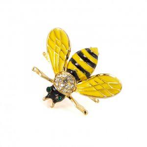 Bi med gule vinger broche