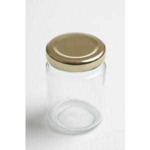 Glas 125 gr rundt med guldlåg 24 Stk.